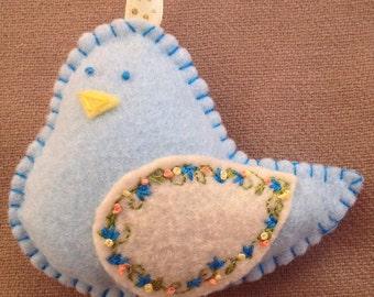 Sweet Hand-Embroidered Felt Blue Bird Ornament Scented Sachet