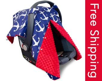 Carseat Canopy | Nursing Cover | Car Seat Canopy w/ Peekaboo Opening™- Nautical Anchor w/ Red Dot Minky for Baby Boy or Girl | Breastfeeding
