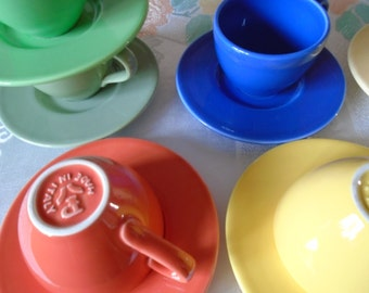 harlequin coloured cups and saucers x 6 made i Italy