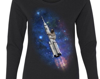 Sloth Going To Space (Rocket ship)- Woman's Long Sleeve