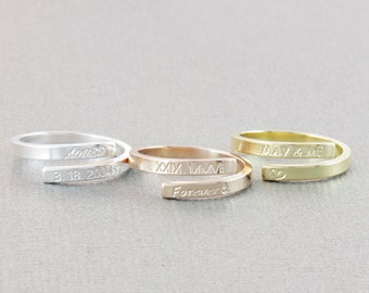 skinny wrap personlized ring, name ring, roman rumeral ring, date ring, message ring, word ring,stacking ring, skinny band ring (W001)