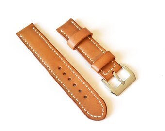 Light brown leather panerai watch strap watch band Vegetable tanned leather watch strap 18 mm 20 mm watch band 22 mm 24 mm watch strap
