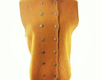 Womens Vest Vintage 100% Wool Double Breasted Riding Vest Gold Ann Wi M