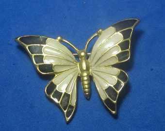 VINTAGE Antique Brooch Butterfly Gold Tonean Enamel
