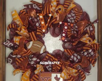 Virginia Tech Hokies Football Wreath VT Football Deco Mesh Wreath Virginia Tech Sports Wreath VT Hokies Wreath Orange Burgundy VT Wreath