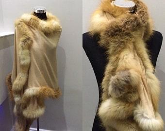 100% Cashmere pashmina fox fur trimmed wrap/stole