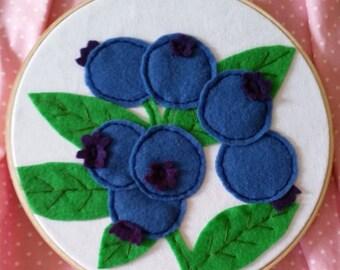 Blueberry Handstitched Felt Art