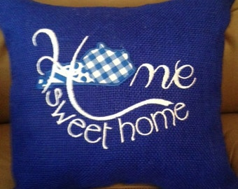 Burlap Home Sweet Home Pillow