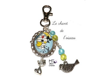 """Key ring cabochon """"the song of the bird"""