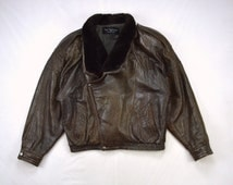 Vtg Marc Buchanan for Tannery West Marbled Brown Leather Beaver Fur Men's Bomber Jacket L