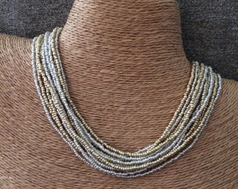 Gold beaded necklace, gold seed bead necklace, gold bridesmaids, gold necklace, bridesmaids necklace, gold and silver, silver necklace, bead