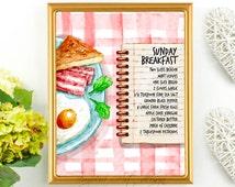 Breakfast Print, Food Art, Wall Decor, Sunday Breakfast, Egg, Bacon, Kitchen Decor, Eat Your Breakfast Motivation, Printable Food Wall Art,