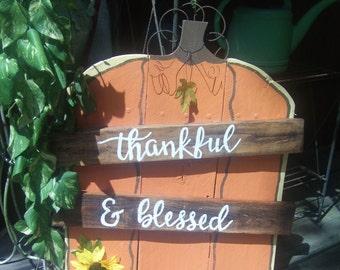 Pumpkin Sign - Fall Sign - Thankful & Blessed -  Pumpkin Pallet Sign - Pumpkin Decor - Fall Porch Sign - Autumn  Decor - Fall Decor