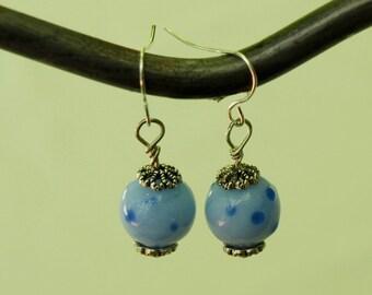 Blue Polka Dot Lampwork Glass Earrings
