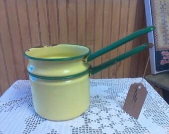 Enamel Double Boiler, Vintage Pots, Farmhouse Decor, Banna Pudding Maker,