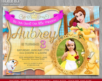Princess Belle Invitation - Disney Beauty and the Beast Invite - Princess Belle Birthday Invitation - Belle Birthday Party with photo