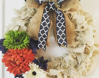 Burlap wreath, shabby chic wreath, spring wreath, summer wreath, housewarming gift