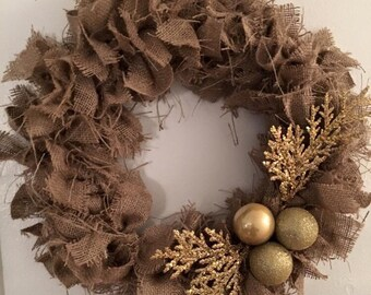 Burlap wreath, christmas wreath, shabby chic wreath, winter wreath