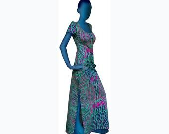 Psychedelic dress  'Acid Dragonfly'. Full length dress, UV active, trippy dress, trance wear, evening wear, long dress, rave festival dress.