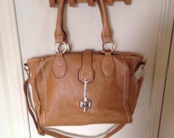 Leather style weekender bag
