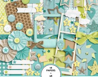 baby digital scrapbook kit, baby digital paper, baby boy scrapbook kit,baby boy digital paper, baby boy clip art