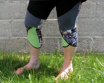 Leggings 3/4 recycled yoga Collation Gaïa green and violet