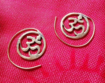 "Golden brass earrings ""Om"""