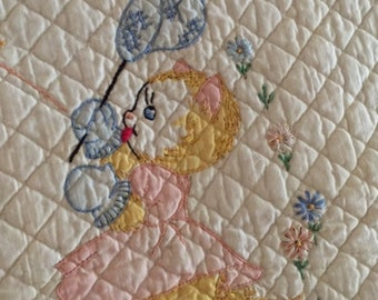 Antique Baby Quilt, Hand Embroidered Antique Baby Quilt, Antique Kittens Quilt, Antique Whole Cloth Baby Quilt