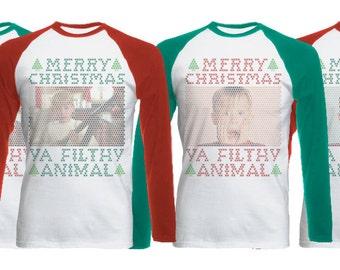 Merry Christmas Ya Filthy Animal Long Sleeve Raglan Tee