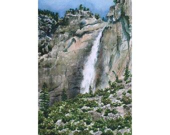 Yosemite - Note Card - Giclee - Yosemite Falls
