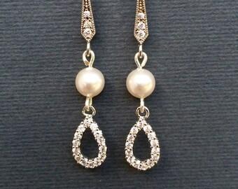 SALE swarovski pearl bridal earrings, teardrop cubic zirconia bridal jewellery, swarovski bridesmaid earrings, wedding jewelry