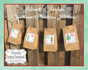 Printable Advent Calendar Numbers Countdown to Christmas Stickers or Tags Christmas Trees ~ DIY Instant Download ~ 25 3.5 x 3.5 Squares