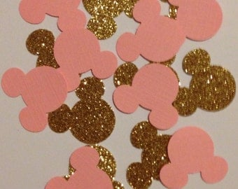 Pink and Gold Minnie Mouse Confetti - 100 pcs - Minnie Mouse Birthday - Minnie Mouse Party Decorations - Minnie Mouse Baby Shower