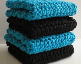 "Handmade Crochet Washcloths Dishcloths 4-Pk, 2 Black 2 Turquoise 8"" Sq #5767"