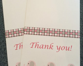 Pink and Grey thank you cards