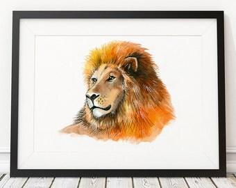 Nursery poster Lion print Animal art Watercolor print ACW579