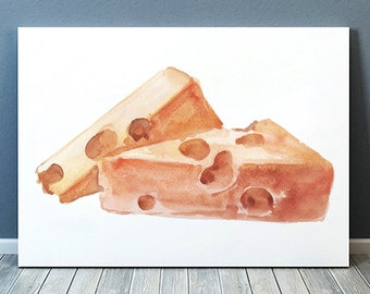 Cheese poster Food print Kitchen print Watercolor decor ACW967