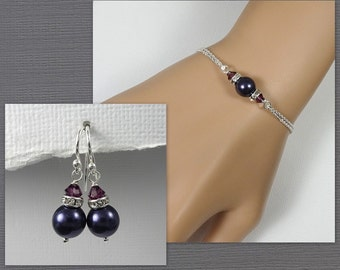 Regency Bracelet and Earring Set, Dark Purple Pearl Bridesmaid Jewelry, Plum Jewelry Set, Maid of Honor Gift, Bridal Jewelry Set