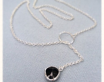 Silver Lariat Necklace, lariat necklace, Glass gems, Pearl necklace, gifts for her