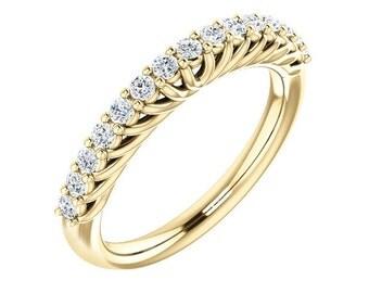 14K Yellow Gold Diamond Wedding Band Ring For Women 0.35 Carats Shared Prong Set 15 Stone Anniversary Ring band Half Eternity