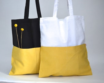 Shopper, Tote Bag, Cotton bag white, velour leather yellow