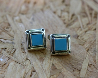 Free Shipping Stud Earrings, Silver Earrings, Turquoise color Earrings, Silver Jewelry, Handmade 925 Silver Earrings,