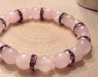 Stackable Rose Quartz Gemstone Bead Bracelets