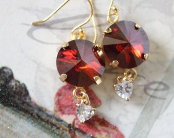 Swarovski red magma crystal earrings with CZ dangle