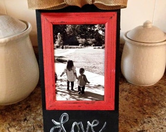 Chalkboard paint picture frame.
