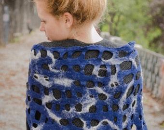 Felt/Felted netting wraps shawl/Eco friendly/embroidered Shawl