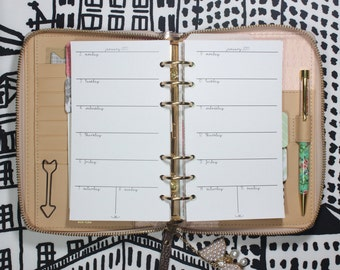 Printed Week on 1 Page Personal Planner Inserts Horizontal - Monday to Sunday