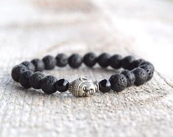 SALE Mens bracelet Yoga bead bracelet Lava bracelet Black bracelets Mens gifts Mala jewelry budhist mala bracelets