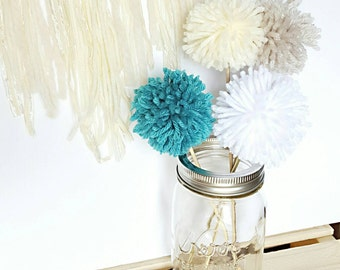 Customized pom pom sticks, decoration, cake toppers, home decor, kids rooms, baby rooms, nursery decor, home and living, birthday party fun