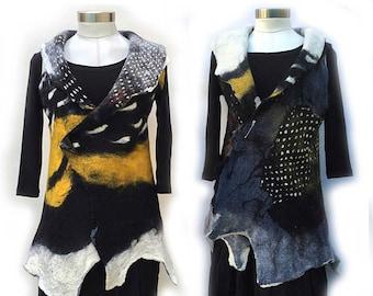 Nuno Felt Artist Vest, Merino Wool Women Vest ,Reversible vest ,Black Yellow White